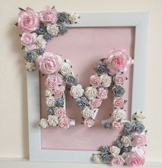 Wooden letters hand painted and decorated with high quality handmade paper flowers. Finished by design in a matching floral frame. This is the ultimate girly gift and is perfect for all occasions Baby Decor, Baby Shower Decorations, Floral Decorations, Valentine Decorations, Baby Shower Gifts, Baby Gifts, Diy And Crafts, Paper Crafts, Wooden Crafts