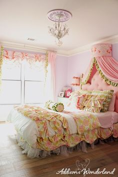 A whimsical little girl's bedroom featuring bright colors, feminine details and accessories from HomeGoods!  Sponsored by HomeGoods.
