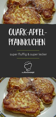 Quark-Apfel-Pfannkuchen gehen so einfach und schmecken doch SENSATIONELL gut! Da… Quark and apple pancakes are so easy and taste SENSATIONALLY good! They owe that to the curd, because it brings the absolute fluffiness into the cupcakes. Baby Food Recipes, Dessert Recipes, Cooking Recipes, Dessert Oreo, Best Pancake Recipe, Healthy Snacks, Healthy Recipes, Homemade Baby Foods, Food Blogs