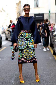 Giovanna Battaglia at Milan Fashion Week