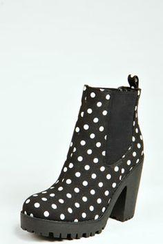 Izzy Polka Dot Print Pull On Boot at boohoo.com