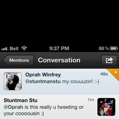 Been a huge fan of hers for a long long time and she responded to my tweet. It's the little things in life that make me smile! Oprah Winfrey, Make Me Smile, Conversation, Bucket, Fan, My Love, How To Make, Life, My Boo