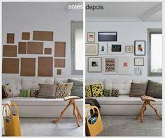 DICA: Antes de pendurar os quadros na parede, faça a composição com papel para ver se vai ficar bom.