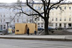 Built by Rintala Eggertsson Architects in Oslo, Norway The exhibition room was designed and built during a two week workshop with students from the Oslo School of Architect. Wood Architecture, School Architecture, Oslo, Exhibition Room, Urban Intervention, Street Furniture, Pavilion, Facade, Contemporary Art