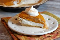 """No Bake Double Layer Pumpkin Pie"" | @RecipeGirl {recipegirl.com} {recipegirl.com} #dessert #pumpkin #easy"