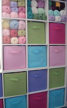 Closetmaid Cubeicals - Great idea for my knitting room.love this colourful idea for storing unfinished projects! - I don't have a knitting room but I think the use of colors is so great here! Knitting Room, Knitting Storage, Yarn Storage, Craft Room Storage, Fabric Storage, Storage Ideas, Storage Boxes, Knitting Yarn, Storage Drawers