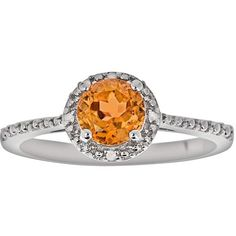Sterling Silver Citrine and Diamond Accent Frame Ring ($78) ❤ liked on Polyvore featuring jewelry, rings, orange, sterling silver jewelry, sterling silver rings, citrine rings, orange jewelry and enhancer ring