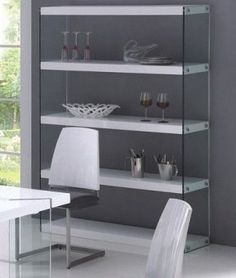 49w x 15d x72hModern Wall Display Unit with Clear Glass Sides and White Shelves 510
