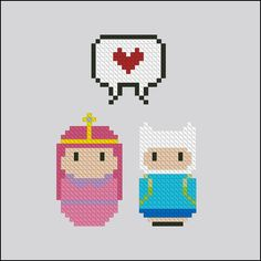 Finn and Princess Bubblegum - Mini People in Love - Pattern by CloudsFactory