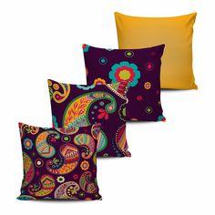 Conjunto 4 Almofadas Decorativas Florais - modelo 7