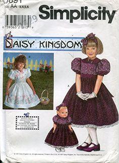 """Simplicity Daisy Kingdom Pattern 7891 Girls' Dress and Matching 17"""" Doll Dress"""