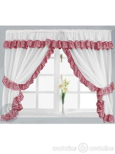 A delightful gingham check ready made kitchen curtain set. Gingham check is available in 7 colours, and is finished off with a sweet frill design.