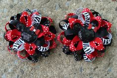 2 Minnie Mouse Hair Bows Mickey Mouse Hair Bow Loopy