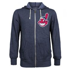 Majestic Threads Cleveland Indians Navy Distressed Tri-Blend Full-Zip Hoodie