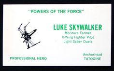 tarjetas de presentación de personajes de Star Wars.