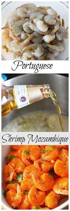 """""""Msg 4 21+"""" -Portuguese Shrimp Mozambique Recipe. A delicious, Portuguese meal tradition. #AD #SummertimeCerveza"""