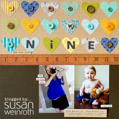 Like the heart grid with the stitching on the top of this page by Susan Weinroth. Also the idea of nine months in, nine months out. Cute.