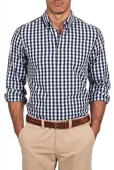 Country Road indigo gingham shirt - The kinda style I'd like to add to my professional wardrobe. Business Casual Outfits, Business Dresses, Casual Shirts, Fashion Mode, Look Fashion, Mens Fashion, Mode Man, Gingham Shirt, Blue Gingham