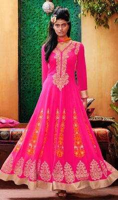 Spellbind your onlookers by draping this long Anarkali suit in pink color embroidered georgette and tissue. The stunning lace, resham and patch work a vital attribute of this dress. #FabulosLongPinkAnarkaliDress