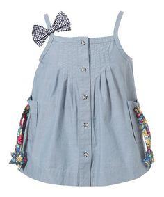 Another great find on #zulily! Blue Bow Pocket Tie Denim Dress - Infant, Toddler & Girls #zulilyfinds