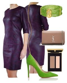 """""""Green & Burgundy"""" by tubino-skirts-dresses ❤ liked on Polyvore featuring Yves Saint Laurent"""