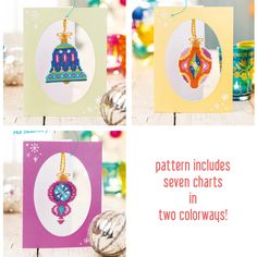 Christmas Baubles set of seven charts modern by SatsumaStreet
