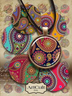 """1"""" (25mm) and 1.5"""" size circles images HINDU PAISLEY Printable download Digital Collage Sheet for pendants magnets bezels trays Art Cult"""