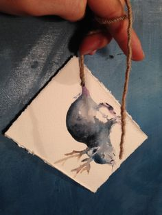 Dear Rat - original handmade illustration card, ideal for Christmas tree, sweet and lovely notes, for gifts, this is not a print, painted with watercolors (gouache