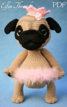 c8651f8fe19 Elfin Thread- Queency The Pug Puppy Amigurumi PDF Pattern (Crochet Pug  Amigurumipattern)