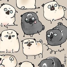 Designs by inkpug for sale on Spoonflower custom fabric and wallpaper Happy Birthday Illustration, Pug Illustration, Illustrations, Cute Pugs, Funny Pugs, Pug Cartoon, Cute Cat Wallpaper, Pug Art, Pug Pictures