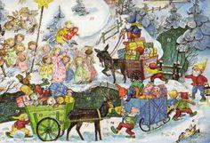 älterer Adventskalender Zwerge Engel Geschenke Weihnachten Baumgarten? Top!!!!!