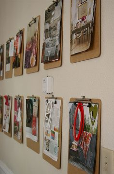 i really like the design board made out of clipboards. seems like a really good way to organize multiple projects at one time and still make them look good.