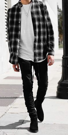 Bad boy style outfits for men flannel fashion, flannel outfits, mens fashion, fashion Grunge Winter Outfits, Outfits Casual, Stylish Mens Outfits, Style Outfits, Boy Outfits, Business Casual Dresses, Model Outfits, Kids Fashion Blog, Boy Fashion