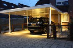 """LED inbouwspots in carport. - LEDspot 3 Watt WarmWit - 30 graden lens - Dimbaar - 270Lumen  gebruikt product: www.bla-design.nl/alu45  Zoals te zien op deze afbeelding kan ook LED verlichting sfeervol en """"warm"""" zijn.  Voor iedere locatie is een oplossing!! informeer via: info@bla-design.nl"""
