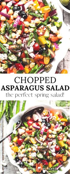 Chopped Asparagus Salad, is a healthy gluten free bean salad perfect for spring ~ add some great canned tuna and hard cooked eggs to make it a main course salad. This no mayo salad is great for barbecues and picnics! Summer Salad Recipes, Salad Recipes For Dinner, Dinner Salads, Spring Recipes, Healthy Salad Recipes, Summer Salads, Bean Salad Recipes, Holiday Recipes, Soup Recipes