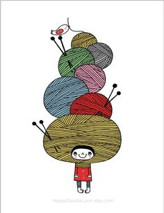Just added this new print into my shop . It's from an old doodle that I did in year 2008 for Illustration Friday . It's for all knitting l. Knitting Quotes, Knitting Humor, Crochet Humor, Knitting Projects, Knitting Patterns, Happy Doodles, Fabric Balls, Knit Art, Illustration
