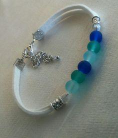 White bracelet,glass beads,silver