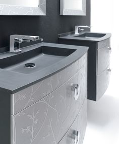 Bathroom Basin's Designed by Fiora - Love The Squarish Look & Faucets