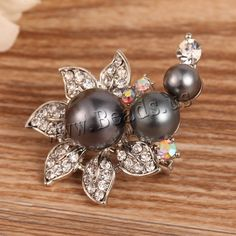 Glass Pearl Brooch, Zinc Alloy, with Glass Pearl, Flower, platinum color plated, with rhinestone, nickel, lead & cadmium free, 20mm, 10PCs/Lot,china wholesale jewelry beads