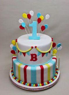 Kermes Cake by Violeta Glace Safari Birthday Cakes, Baby Boy Birthday Cake, Custom Birthday Cakes, Carnival Birthday Parties, Circus Birthday, Circus Party, Circus Wedding, Starfish Cake, Carnival Cupcakes