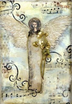 angel collage on deep edged canvas wall art home by twocooltexans