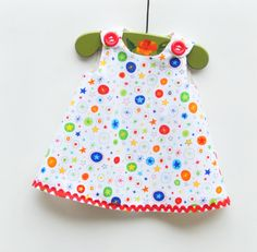Infant Dress  Girl Aline  Rainbow Stars  Baby by KKchildrendesigns