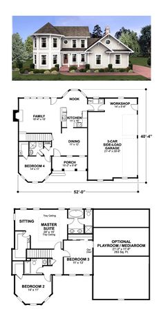 Craftsman House Plan 42652 Total Living Area: SQ FT, 3 bedrooms and bathrooms. This beautiful Craftsman Style home has a back covered patio with barrel vaulted ceiling. Colonial House Plans, Country Style House Plans, Craftsman Style House Plans, Cottage House Plans, Cottage Homes, Victorian House Plans, Tudor House, Ranch Style Homes Country, Small Cottage Plans