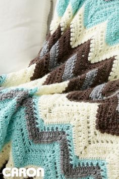 Cabin In The Woods Afghan - free crochet pattern with chart by Caron at Yarnspirations. Chevron ripple afghan.