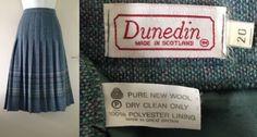 1980's Vintage DUNEDIN Scottish Tweed Wool Knife Pleated Winter Skirt Women Size 18 W36