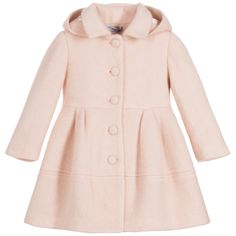 cdad978a455 Balloon Chic Girls Pink Wool  amp  Mohair Coat at Childrensalon.com Little  Girl Outfits
