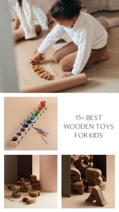 15 Montessori Wooden Toys for Kids by HappyTreeStore. Waldorf and Educational toys is the best gift for your baby. Colored forest, dolls playset, mushrooms, balls in plates, pyramids, rainbow, alphabet, numbers, memory games with animals from eco wood #babytoy #kids #education