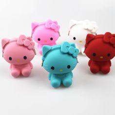 CUTE silicone hello Kitty Cat Kawaii Cartoon Hasp Storage Bags Headset Earphone Bag Cute Portable Children Coin Purse Kid Gift #Affiliate