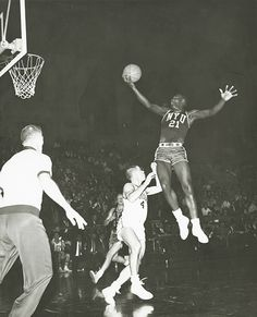An NYU basketball player in the 1960s. Although the men's team has never captured an NCAA championship victory, they did play in NCAA championship games in 1943, 1945, 1946, and 1960.
