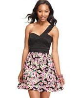 Trixxi Juniors Dress, Sleeveless Banded Floral-Print One-Shoulder